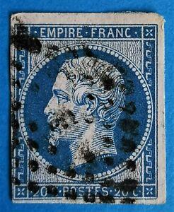 """EMPIRE-N°:14  BLEU (TB-662-2)  Oblit.: BUR de Paris """"F""""+ cadre inférieur brisé"""