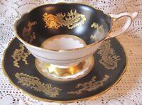 Royal Stafford Bone China Tea Cup & Saucer - Gold Dragons on Matte Black - #8414