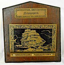 Vintage Brass Newspaper Rack Holder Wood Wall Decor Nautical Ship Design