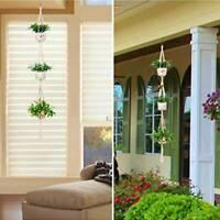 3 Tier Macrame Plant Hanger Outdoor Indoor Hanging Planter Pot Basket Jute Rope