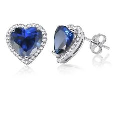 Blue Sapphire Simulated Diamond Halo Heart Sterling Silver Stud Earrings
