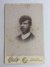 Large Victorian Cabinet Card (CDV): Crosby: Rotherham: Young Man In Cap