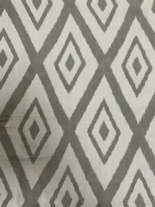 Beacon Hill Lalu Ikat Diamond Geometric Fabric In Silver By The Metre