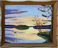 Original Panoramic Painting Evening Glow, Romantic... by G.Subotas