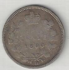 CANADA,  1880-H,   5 CENTS,  SILVER,  KM#2,  VERY GOOD+  ( 002 )