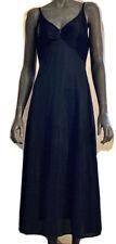 1960's Vintage Olga Classic Black Nightgown Style 9655 Tea Length Keyhole Detail