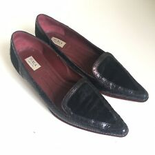 Furla Designer Made in Italy Slip on Loafers Flats Black Pointed Shoes 36.5 3.5