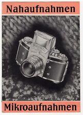 """Vintage German EXAKTA Varex Camera Brochure: """"Nahaufnahmen Mikroaufnahmen"""""""