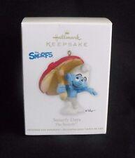 Smurf with Mushroom Umbrella Hallmark Ornament ~ 2012 ~ Mint in Box ~ Peyo