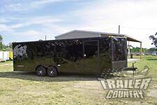 New 8.5 X 24 V Nose Enclosed Cargo Blacked Out Car Trailer Blackout Toy Hauler