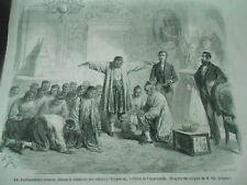 Gravure 1861 - Les Ambassadeurs Siamois faisant le simulacre des adieux