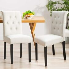 Set Of 2 Dining Chairs Fabric Tufted Upholstered Design Armless Chair Wood Leg