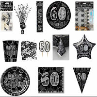 60th Black Glitz Birhtday Party Supplies Decorations Tableware 18 items Free P+P