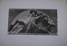 1888 Engraving / Rubens And His Model by Hans Makart Nude Print Photogravure