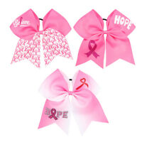 """2Pcs 7"""" Pink Ribbon Breast Cancer Cheer Bows With Elastic Hair Band For Girls"""