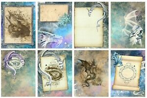 DRAGONS  - 2 x A4 SHEETS OF CARD TOPPERS - CARD MAKING - SCRAPBOOKING - 250GSM