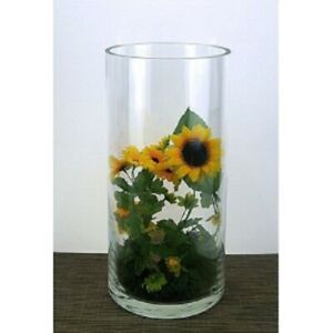 "Clear Glass stem vase Conical Vase/Centrepiece 30cm/12"" cylinder tall column"