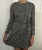 Topshop Women Dress Size 8 Grey Marl Knit 3/4 Sleeve Above Knee Mini Round Neck