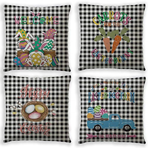 Jasis Woo Easter Pillow Covers,4 pcs/Sets Happy Easter Bunny Blue Pickup Truck