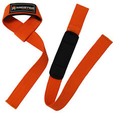 MEISTER WEIGHT LIFTING STRAPS - ORANGE - NEOPRENE-PADDED Wrist Pads NO-SLIP PAIR