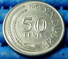 1968 Singapore 50 Cents Lion Fish Coin
