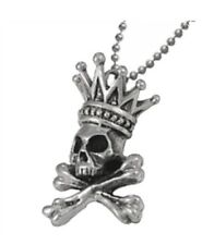 AUTHENTIC KING QUEEN BABY Crowned Skull Crossbones Pendant Necklace Silver 925