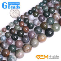 """Natural Indian Agate Gemstone Round Beads for Jewelry Making Free Shipping 15"""""""