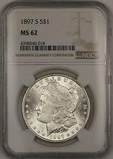 1897-S Morgan Silver Dollar $1 NGC MS-62 (Better Coin) (13c)