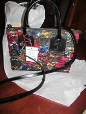 Charles Jourdan Floral Lace and Leather Satchel Handbag MSRP $375.00