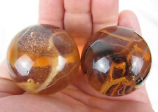 "2 MAMMOTHS 1 5/8"" LION Brown Orange Clear Marbles glass ball LARGE HUGE Swirl"