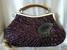 VINTAGE LOOK PURPLE  PEACOCK FULLY HAND-SEWN BEADED EVENING PURSE/CLUTCH/BAG
