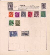 10 FINLAND stamps on an album page.