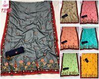 Silk Saree Sari Vichitra Indian Designer Wear Blouse Embroidery Wedding Heavy