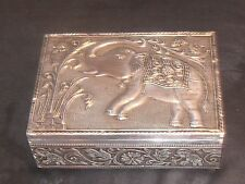 VINTAGE ANTIQUE  ELEPHANT SILVER TONE ALUMINUM INDIA JEWELRY BOX