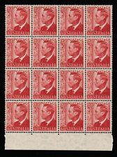 1950 KING GEORGE VI 2 1/2d RED BLOCK 16 PRE-DECIMAL STAMPS FRESH MUH #Z21