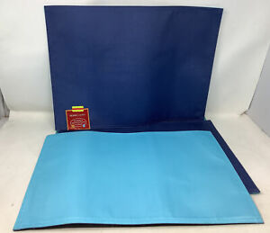 4 Woven Vinyl Placemats Washable Insulation Dining Table Place Mats BLUE/navy R1