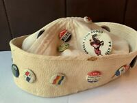 vintage navy sailor hat WW2 With Political Pins All Original