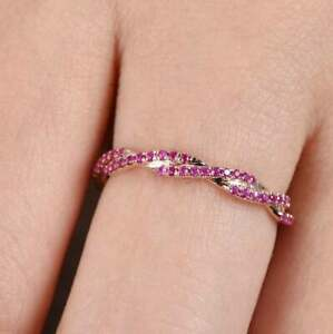 Vintage Band Ring For Women's 14k Rose Gold Finish 1.00CTW Round-Cut Diamond