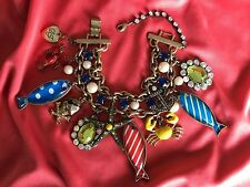 Betsey Johnson Vintage Nautical Polka Dot Fish Skull Pirate Lobster Bracelet