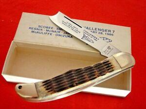 "Frost Japan Genuine Bone 5.25"" Challenger Space Shuttle LTD Razor Knife MINT"