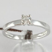 WHITE GOLD RING 750 18K, SOLITAIRE, STEM SQUARE, DIAMOND CARAT 0.27