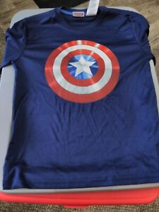 Boys Marvel Captain America Shirt with Blue Avengers Decorated Long Sleeves