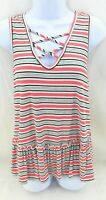 Caution To The Wind Top Womens Size Medium Multi Colored Stripe Sleeveless