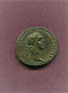 AD 81-96 DOMITIAN DUPONDIUS EXTRENELY FINE HATED EMPEROR