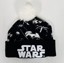 Star Wars Beanie Hat Black White Knit with Pom Pom Embroidery Winter Cap 18b99232bc1a