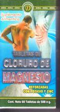 TABLETAS DE CLORURO DE MAGNESIO.  60 Tabletas 500 m.g  (Reforzada)