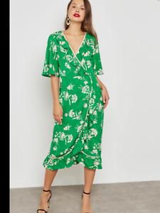 BNWT Topshop Floral Green Oriental Ruffle Wrap Midi Dress Size UK 6 £49