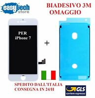Touch Screen LCD Display frame Biadesivo iPhone 7 vetro schermo BIANCO