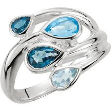 Natural Swiss, Sky and London Blue Topaz Gems Bypass Ring in 925 Sterling Silver