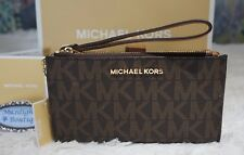 MICHAEL KORS Jet Set Travel MK Sig DOUBLE Zip Wristlet/Wallet In BROWN PVC $138